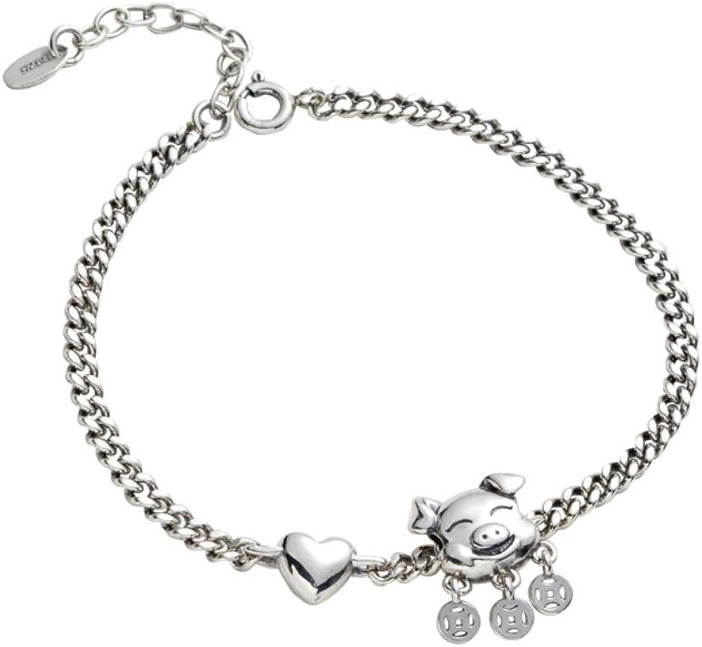Haiyuan Bracelet Customized Retro Old 925 Sterling Silver Tank Chain Woven Pig Copper Coins Love Bracelet Female Gift