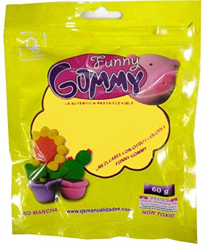 pipi toys Funny Gummy Soft Holding Clay Also for Butter Slime 60 Gram Yellow