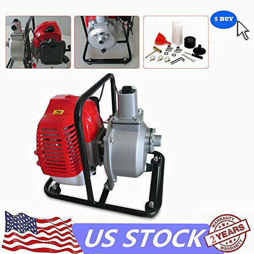 MONIPA 43CC 2-Stroke Water Transfer Pump, Engine Petrol High Pressure Pump Pond Irrigation Air-Cooled Single Cylinder Gasoline High Flow Irrigation Garden Fire Fighting