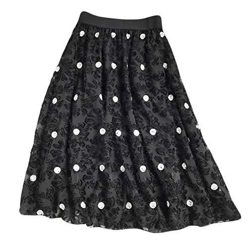- YSJERA Lady's Organza Princess Skirt Bowknot A Line Pleated Midi/Knee Length Tutu Party Skirts (XS, Embroidered Dot Black)