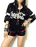 Angcoco Womens Fashion Sequins Paillette Sparkle Glitter Hip-hop Tank Top Shirt