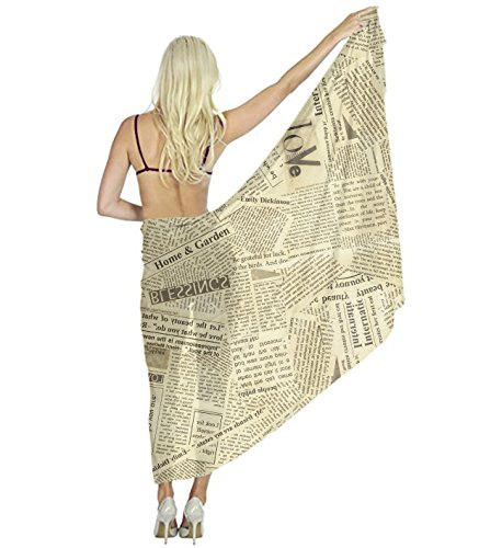 US TANG Women Retro Newspaper Pareo Beach Scarf Wrap Cover Up For Vacation (Washcloth Holiday)