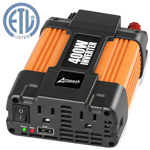 Ampeak 400W Power Inverter 12V to 110V AC Car Inverter with 2.1A USB Car Charger