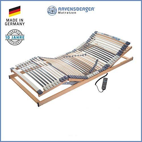 RAVENSBERGER MEDIMED® 44-Leisten 7-Zonen-BUCHE-Lattenrahmen | Elektrisch | Made IN Germany - 10 Jahre GARANTIE | Blauer Engel - Zertifiziert | 120 x 200 cm | Kabel-Fernbedienung
