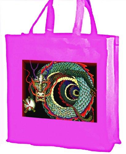 Indivie Borsa per la spesa, motivo: dragone cinese, in cotone, colore: rosa