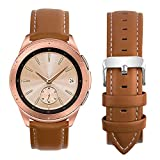 Fullmosa Compatible Samsung Galaxy 46mm/Gear S3 Frontier/Classic Watch Bands, Quick Release Leather Watch Band for Gear S3 Bands/Moto 360 2nd Gen 46mm 22mm Watch Band, Brown + Silver Buckle