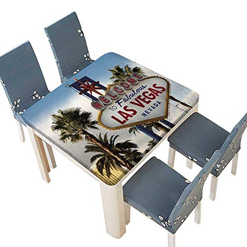 PINAFORE Waterproof SpillProof Tablecloth Welcome to Las Vegas Nevada Skyline City Limit Street Sign Table Cover Dining Room Party 61 x 61 INCH (Elastic Edge)