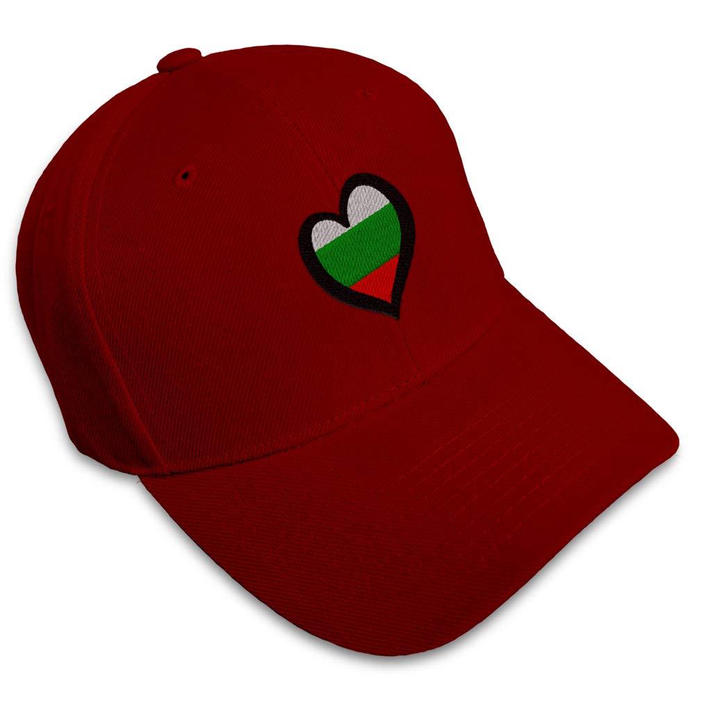 Custom Baseball Cap Bulgaria Flag Heart-Shaped Embroidery Acrylic Strap Closure