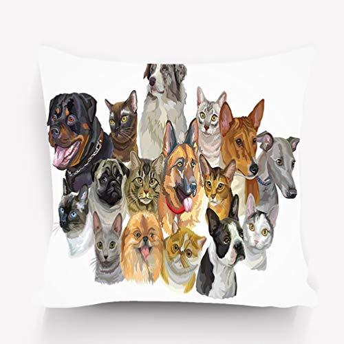 YILINGER Pillow Covers Decorative 18x18 in Pillowcase Cushion Covers Zipper Set Portraits Dogs Rottweiler Australian Shepherd Pug Greyhound German Shepherd Cats Thai Burmese Maine