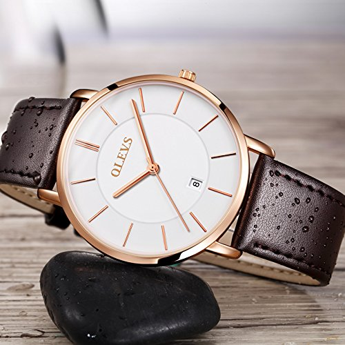 OLEVS His and Hers Couples Quartz Watch,Business Casual Fashion Analog Wrist Watch Classic Calendar Date Window, Waterproof 30M Water Resistant Comfortable Leather Watches by Fate Love (Image #4)