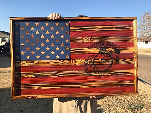 Charred American USMC Flag Wall Hanging
