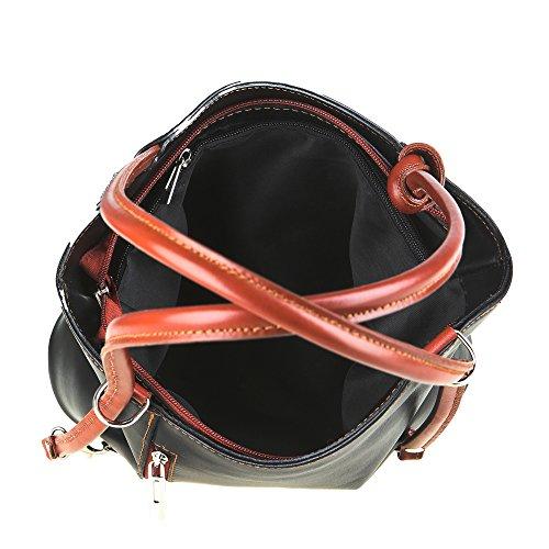 Fabriqué Italie à en cuir Sac Borse bandoulière Cm 28x30x9 Chicca marron Noir en femme véritable wCBqvn8