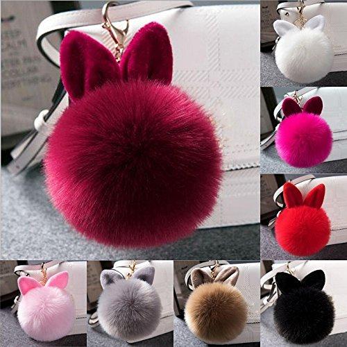 Shoppi Llavero con diseño de conejo y pompón de pelo ...