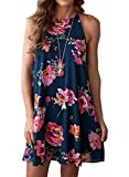 MITILLY Women's Halter Neck Boho Floral Print Chiffon Casual Sleeveless Short Dress X-Large Dark Blue