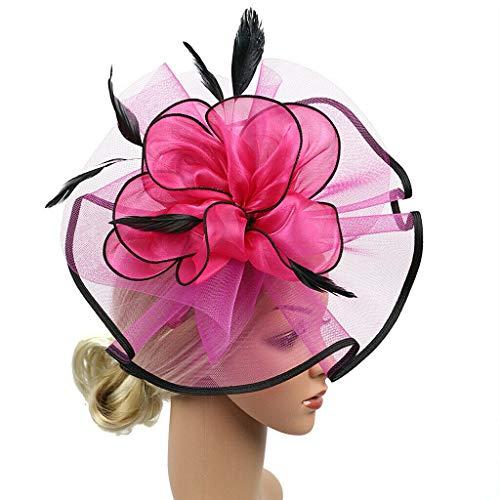 (Retro Veil Flower Fascinator Gatsby Wedding Bridal Headwear Fancy Headress (Color - Rosy))