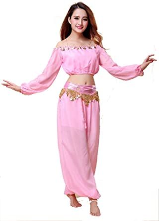 ZLTdream Belly Dance Chiffon Long Sleeves Top and Lantern Coins Pants Black, One Size
