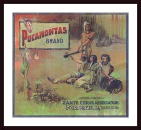 (Pocahontas Orange Label, 1910, framed black wood, white matte)