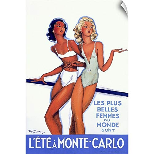 CANVAS ON DEMAND Lete a Monte Carlo, Vintage Poster, by Jean Gabriel Domergue Wall Peel Art Print, 12