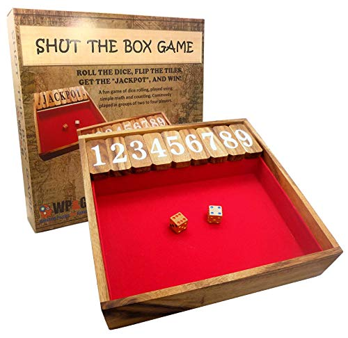 Play Shut Box - Shut The Box Game Large, Wooden Old Fashioned Dice Fun Play for Adults Kids and The Family