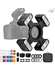 Godox MF12 Macro Flash 4-Light Kit, 2.4 GHz Wireless Control, 0.01 to 1.7s Recycling Time, 3.7V/6.29W Lithium Battery, Compatible with Nikon Sony Canon Fuji Olympus and Panasonic, W/Modeling Light