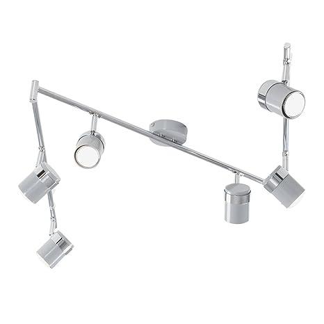 MiniSun - Plafón para el techo Rosie - Regleta con 6 focos y acabado gris y cromo