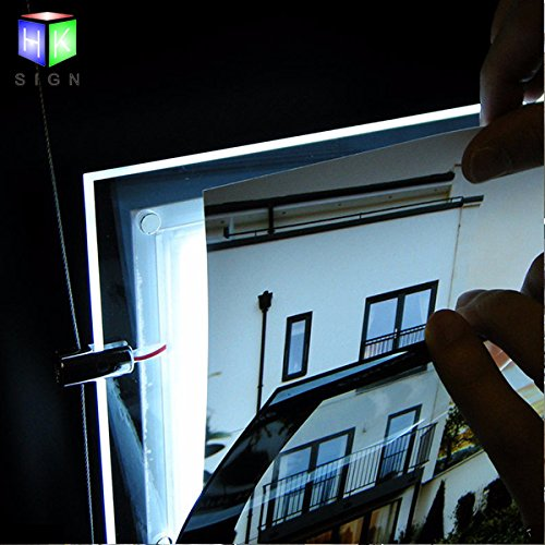 Real Estate Office Window Hanging Acrylic Poster Frame Crystal Led Light Box Sign Display Holder by HKSIGN (Image #1)