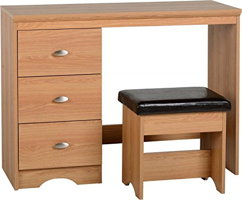 Seconique Regent 3 Drawer Dressing Table Set, Teak Effect Veneer/Black Faux Leather, 100.5x40.5x76 cm 100-107-009