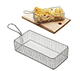 Mannily Mini Fry Basket Stainless Steel Square Fryer Basket Present Fried Chip Food, Table Serving