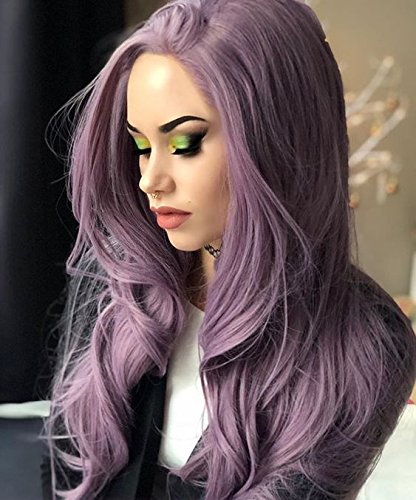 EEWIGS Lace Front Wigs Synthetic Long Wavy Purple Wig for Women For Sale