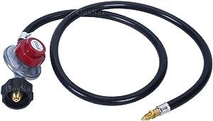 GasSaf High Pressure Propane Regulator Adjustable 0-5PSI Connector with CSA Certified 4FT LPG Hose for Turkey Fryer, Outdoor Cooker, Burner and More