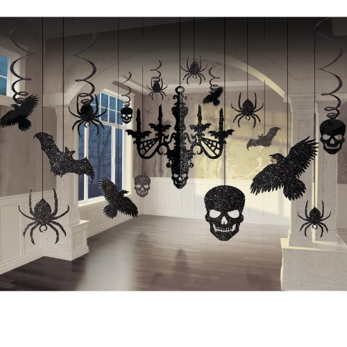 Amscan Glitter Haunted House Chandelier Halloween Trick or Treat Party Decorating Kit, 15″ x 17″, Black