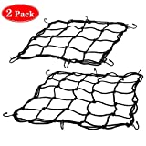 Zoiibuy 2 Pack Motorcycle Luggage Net, Heavy-Duty Elastic Bike Cargo Net with 6 Hooks 11.8 inches and 15.8 inches
