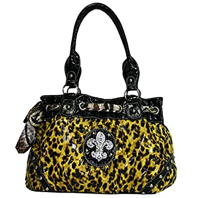 Western Rhinestone Fleur De Lis Studded Purse Bling Handbag With Bonus Wallet