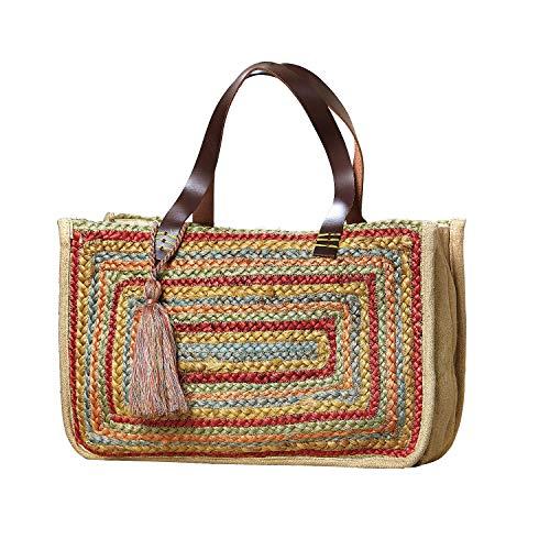 Catalog Classics Women's Rainbow Tote Bag - Braided Straw Purse Shoulder Bag