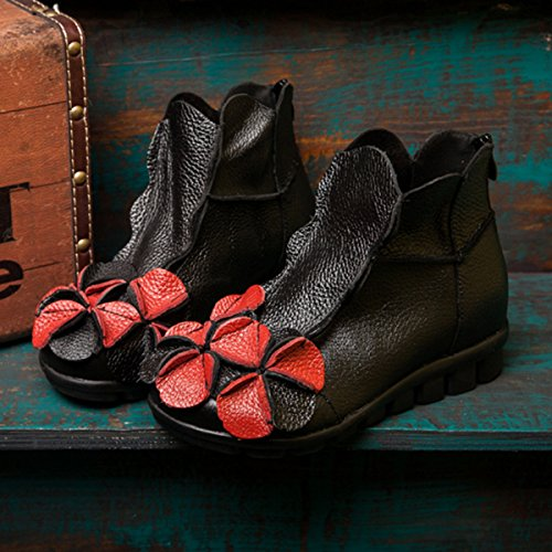 Handmade red Leather Shoes Zipper Soft Ankle Women's Black Vintage Round Flat Boots Unique Topline Socofy Flower zqHZX