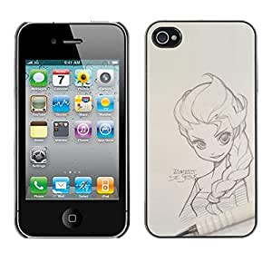 SKCASE Center / Funda Carcasa - Sketch Drawing Art Girl - iPhone 4 / 4S