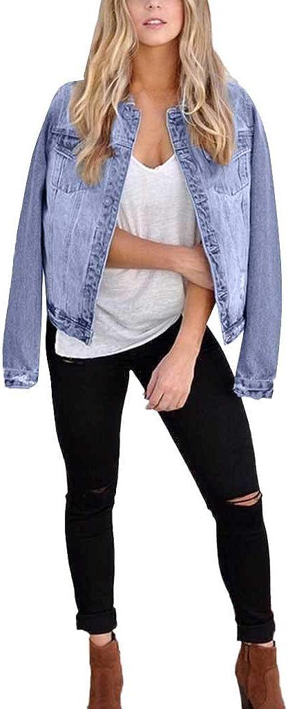 RDTIAN Womens Denim Jacket Autumn Winter Vintage Long Sleeve Loose Jeans Coat