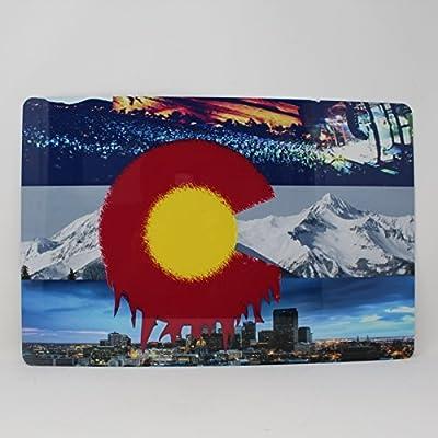 Custom Tshirts and Hats Colorado State Flag Denver City Skyline Red Rocks and Rocky Mountains Tin Sign Room Embelishment Decor #128