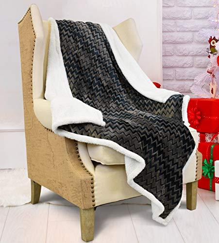 Blanket Flannel Chevron Reversible Charcoal