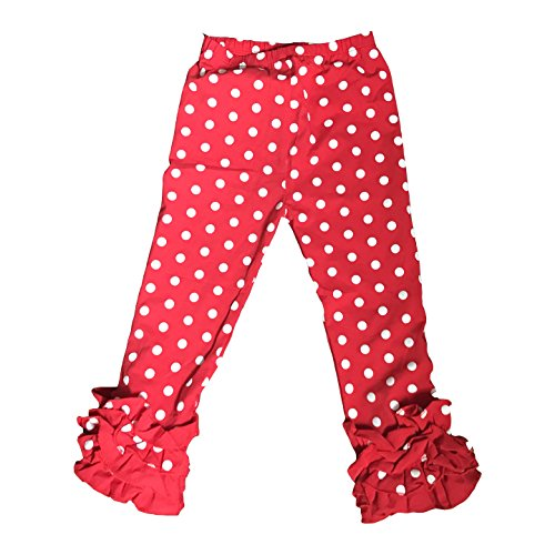 - Icing Ruffle Pants, Ruffle Leggings, Rainbow Pants, Girls Ruffle Pants, Toddler Ruffle Leggings (Red & White Polka Dot, 4 Years)