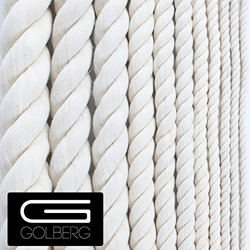 GOLBERG Twisted 100% Natural Cotton Rope - Macramé Crafts (5/8 inch x 10 feet)