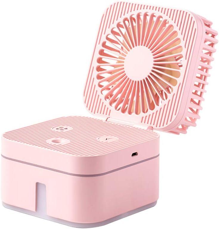 Vosarea Mini Ventilador USB portátil humidificador con Ventilador de nebulización con luz LED de 3 velocidades Ajustable para el Dormitorio en casa Escritorio de Viaje de Oficina