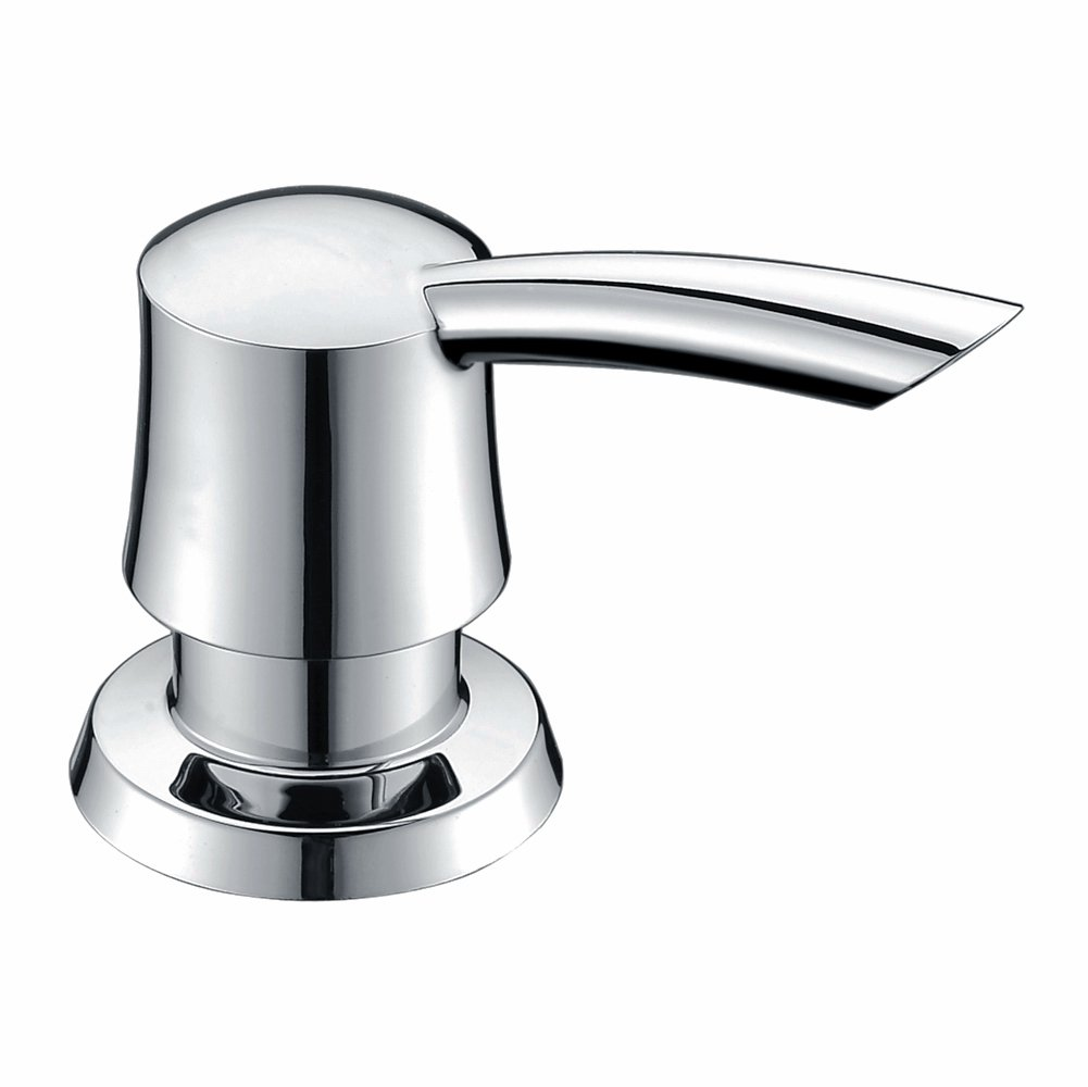 GICASA Bathroom Kitchen Sink Soap Dispenser, Polished Chrome Deck Mount Soap Dispenser Kitchen Sink, High-capacity 320ML ABS Bottle Sink Soap Pump by GICASA
