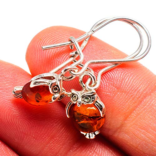 "Genuine Baltic Amber Owl 925 Sterling Silver Earrings 1 1/4"" (925 Sterling Silver) - Handmade Boho Vintage Jewelry EARR374322 from Ana Silver"