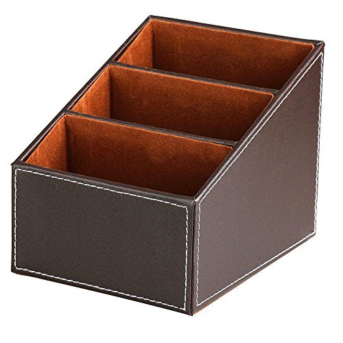 Balamiya 3 Slot trapezoidal PU Remote control/controller TV Guide/mail/CD organizer/caddy/holder with Storage box caddy holder Brush pot Desktop Finishing Box (Brown)