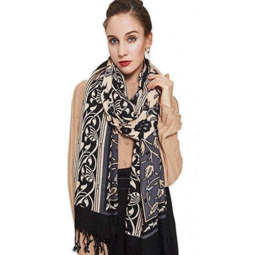 Scarf Khaki - DANA XU 100% Pure Wool Women Scarf Large Size Pashmina (Khaki)