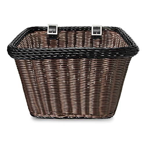 Colorbasket 00696 Adult Front Handlebar Rectangle Bike Basket, Brown Black...