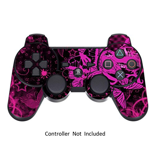 Skin Stickers for Playstation 3 Controller - Vinyl Leather Texture Sticker for DualShock 3 Wireless Game Controllers - Protectors Controller Decal - Pink Butterfly [ Controller Not Included ] (Wireless Pink Ps3 Controller)