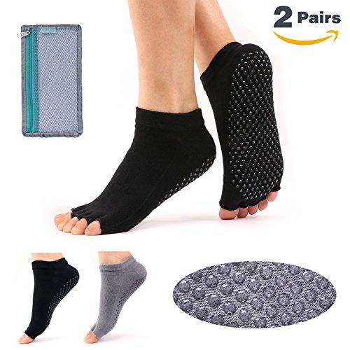 Hylaea Women's Yoga Grip Socks for Pilates Ballet Barre Toeless & Non-slip (Black Gray)
