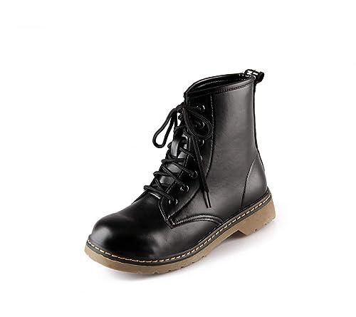 e1ef580c93de2 Amazon.com | T-JULY Women's Martin Boots Lace up Short Ankle Boots Leather  Winter Black Low Heels Round Toe Riding Shoes | Boots